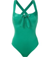amir slama front tie detail ribbed swimsuit - green