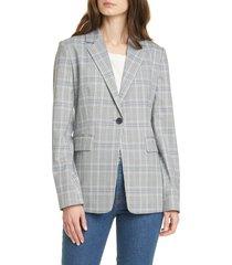 women's nordstrom signature plaid blazer, size x-large - black