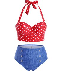 plus size polka dot high rise bikini swimwear