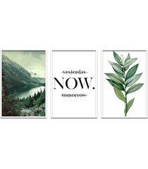 quadro 60x120cm floresta montanha com frase- decorativo moldura branca com vidro - tricae
