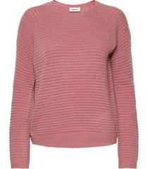 ebba o-neck stickad tröja rosa modström