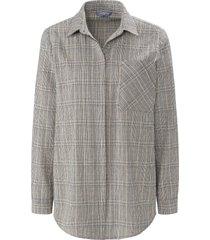 blouse met lange mouwen en blinde knoopsluiting van day.like zwart