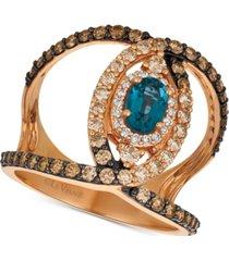 le vian deep sea blue topaz (1/2 ct. t.w.) & diamond (1 ct. t.w.) ven statement ring in 14k rose gold