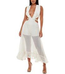 bebe mesh-overlay romper dress