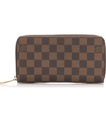 louis vuitton damier ebene zippy wallet brown sz: