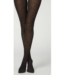 calzedonia diamond pattern ribbed tights with cashmere woman black size 3/4