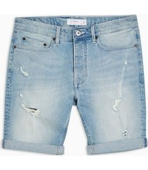 mens blue light wash rip stretch skinny shorts