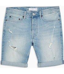 mens blue light wash ripped denim skinny shorts