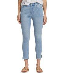 frame women's ali high-rise cigarette slit rivet skinny jeans - carnation - size 25 (2)
