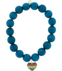 pave rainbow heart charm bracelet