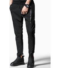 zipper embellished drawstring casual pants