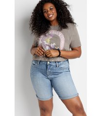 plus size jeans silver jeans co.® womens avery high rise medium wash 9in bermuda shorts blue denim - maurices