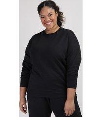 blusão de moletom feminino plus size mindset decote redondo preto