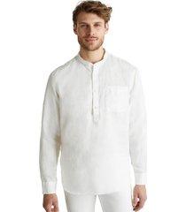 camisa con cuello alto blanco esprit