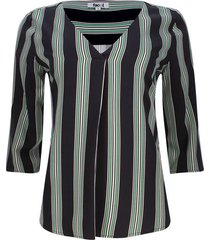 blusa manga 3/4 rayas color negro, talla 6
