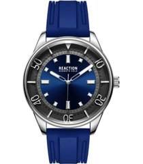 kenneth cole reaction men's dress sport round blue silicon strap watch 46mm