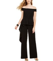 adrianna papell off-the-shoulder peplum jumpsuit