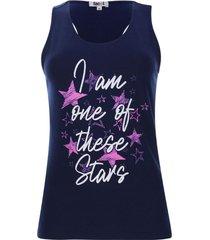 camiseta descanso stars color azul, talla xs