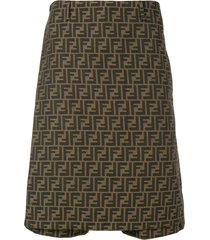 fendi ff motif print long-line skort - brown