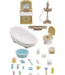 sylvanian families conjunto toalete e banho com acessórios