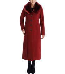 anne klein faux-fur shawl-collar maxi coat