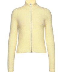 soft wool knit gebreide trui cardigan geel ganni