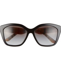 women's burberry 57mm gradient sunglasses - black/ grey gradient