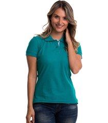 camiseta polo hamer, básica de mujer, casual, para uso diario, clasica color verde jade