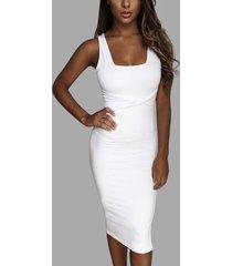 blanco sin respaldo diseño cuadrado cuello vestidos sin mangas