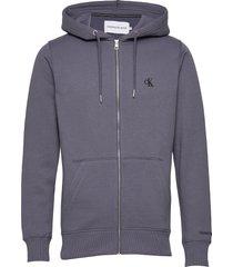 ck essential reg zip through hoodie blå calvin klein jeans