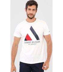 camiseta tommy hilfiger geomã©trica off-white - off white - masculino - algodã£o - dafiti