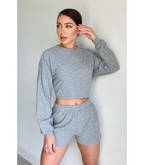 super zachte geribbelde lounge shorts, grijs