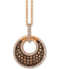 "le vian chocolatier diamond circle cluster 18"" pendant necklace (5/8 ct. t.w.) in 14k rose gold"
