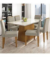 mesa de jantar 6 lugares bárbara 1247 100% mdf ypê/off white/wd25 - new ceval