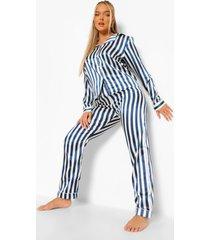 gestreepte satijnen pyjama, navy