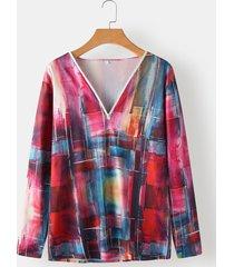 camicetta casual da donna con zip allentata con scollo a v tie dye