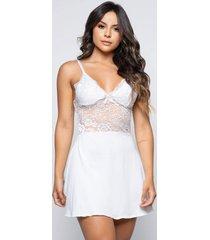 camisola renda rb moda alã§a fina decotada - branco - feminino - poliã©ster - dafiti