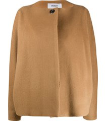 chalayan batwing sleeve single-breasted jacket - brown