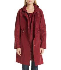 women's lafayette 148 new york maverick convertible hooded coat, size medium - red