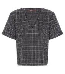 camiseta feminina eternity vichy noir - cinza