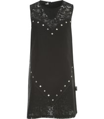 love moschino sleeveless dress w/heart studs