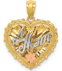 1 mom shadowbox charm in 14k yellow, white and rose gold