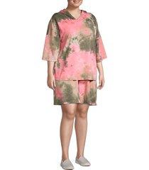 tiana b women's plus 2-piece tie-dye hoodie & shorts set - pink olive - size 3x (22-24)
