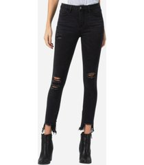 vervet mid rise distressed shark bite zipper hem skinny ankle jeans