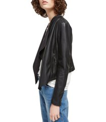 french connection stephanie faux-leather waterfall jacket