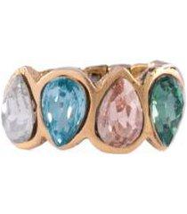 anel armazem rr bijoux cristais coloridos dourado - feminino