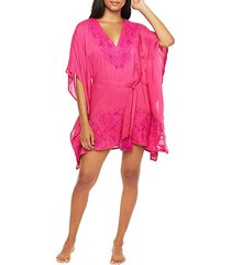 embroidered caftan-sleeve coverup