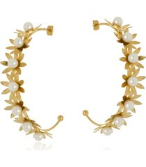 argola aberta le diamond flores e pérolas dourada - tricae