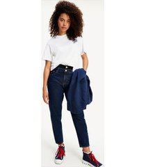 tommy hilfiger women's 100% recycled cotton high rise tapered mom jeans indigo / black top mix - 28/32