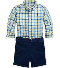 polo ralph lauren baby boys shirt, belt & shorts set